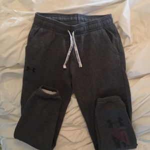 Girls under armor gray sweatpants size small